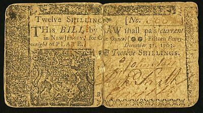 New Jersey Colonial Currency - December 31, 1763 -12 Shillings
