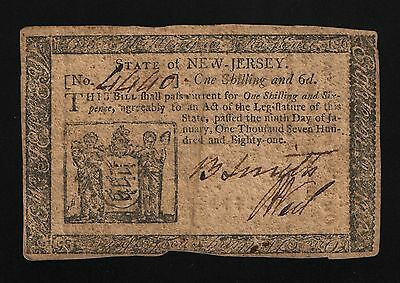 New Jersey Colonial Currency - January 9, 1781 -1 Shilling 6 Pence