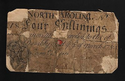 North Carolina Colonial Currency - March 9, 1754 -4 Shillings