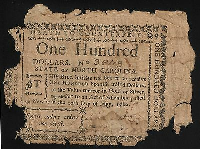 North Carolina Colonial Currency - May 10, 1780 -$100