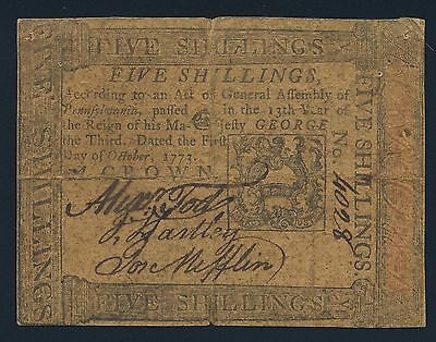 Pennsylvania Colonial Currency - October 1, 1773 -5 Shillings
