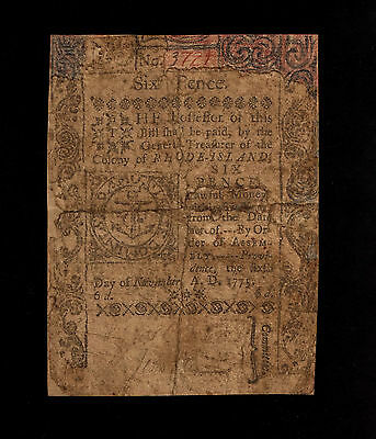 Rhode Island Colonial Currency - November 6, 1775 -6 Pence