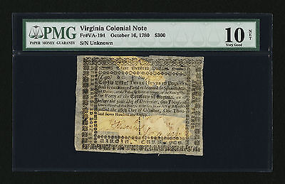 Virginia Colonial Currency - October 16, 1780 -$300