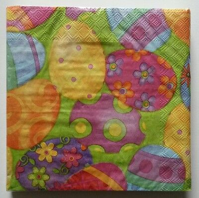 """18 ct 2 ply Paper Party Lunch Napkins 13"""" ~ Spring Decorated Easter Eggs"""