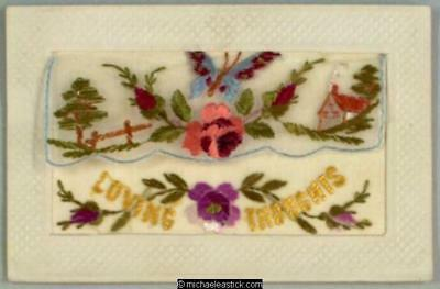 WWI French Embroidered Silk pocket, Butterfly, Flowers