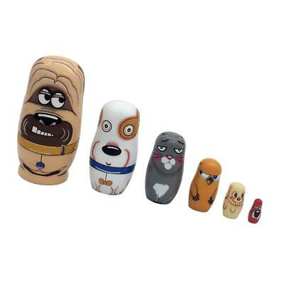 6PCS Painted Dog Animal Wooden Russian Nesting Stacking Dolls Matryoshka Set
