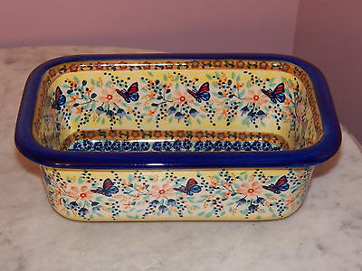 Genuine UNIKAT Hand Made Polish Pottery Loaf Pan! Butterfly Summer Pattern!