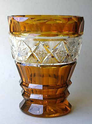 Large Vintage Bohemian Cut To Clear Amber Crystal Glass Very Lovely Vase