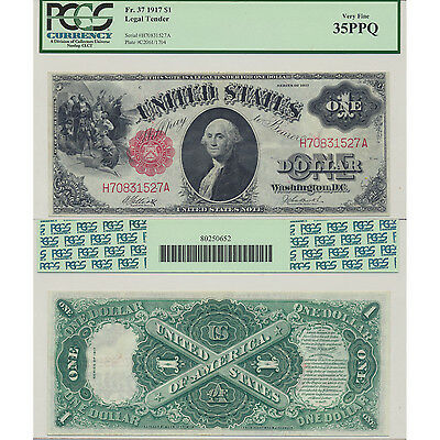 1917 $1 Fr#37 Legal Tender PCGS Currency Very Fine 35 PPQ Premium Paper Quality