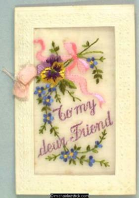 WWI French Embroidered Silk booklet, Pansy - To My Dear Friend