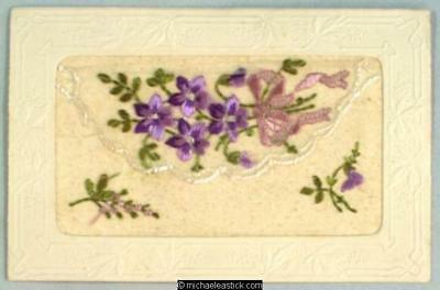 WWI French Embroidered Silk Pocket, Violets