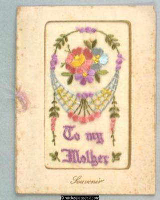 WWI French Embroidered Silk booklet, Flowers - To My Mother