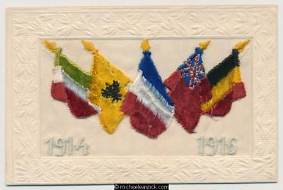 WWI Embroidered Silk 1914-1916 Flags Envelope
