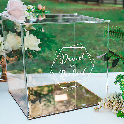 Personalised Favours Wedding Card Box for Reception - Clear Engraved Acrylic