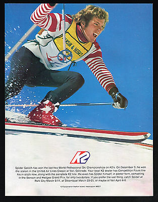 1973 K2 Snow Skis Spider Sabich Photo Skiing Racing Vintage Color Print Ad