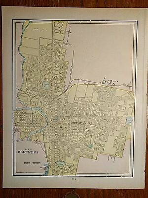 "COLUMBUS OHIO Map 1900 Antique Original Crams Toledo Akron 11.5""x14.5"" MAPZ35"