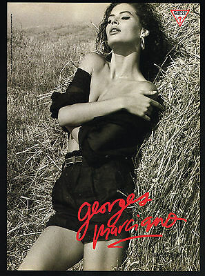 1989 Carre Otis Photo Guess Fashion Georges Marciano Vintage Print Ad