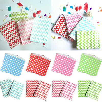 "25Pcs Candy Stripe & Polka Dot Paper Bags 5"" x 7"" Party Sweets Cake Favours Gift"