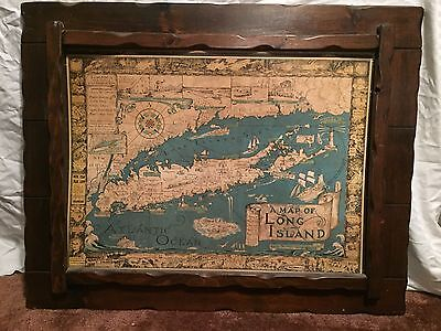 "Vintage Courtland Smith A Map of Long Island 1933 1961 27"" X 19.5"" w/ Wood Frame"