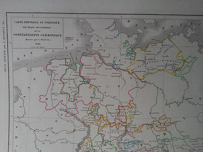 1846 Vintage Handcolored Map of Germany