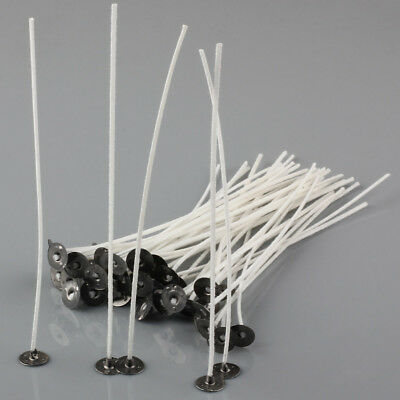 50 to 200 PCS CANDLE WICKS Pretabbed Waxed 6 inch Cotton CORE Candle Making