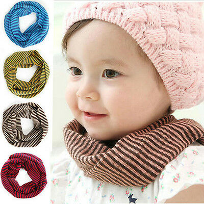New Toddler Boys Girls Winter Warm Snood Scarf Neckerchief Striped Scarves 6M-3Y