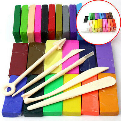 5 Tool+32 Color Oven Bake Polymer Clay Block Moulding Sculpey Toys Set Novelty