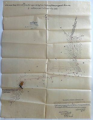 "India 1942 hand drawn border survey map on thin paper Zilla Chittorgarh 15""x20"""