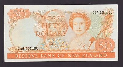 New Zealand $50 Fifty Dollar orange Paper Banknote Hardie L-172