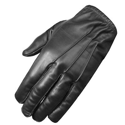 New Police Duty Soft Leather Short Thin Unlined Search Gloves Black