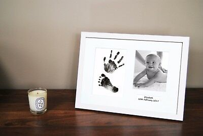 Personalized Hand Print Footprint Kit Baby Shower Gift Christening White Frame