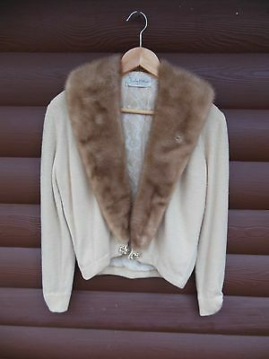 Vintage 1950s/60s Cashmere Cardigan Sweater with Mink Fur Collar