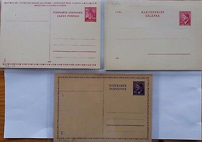 BOHEMIA MORAVIA 1940s TWO POSTAL STATIONERY CARDS + REPLY HALF & ONE LETTER CARD