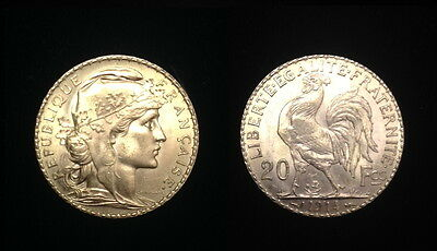 French Rooster 20 Gold Franc 1914--GEM B.U. LUSTROUS COIN--PRE WW-I --- STUNNING