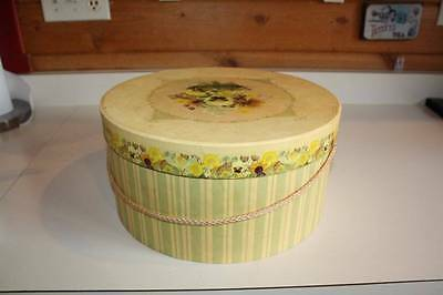 "Once Upon A Rose New York Hat Box/Whatnot Box 13X 6.5"" Pansies"