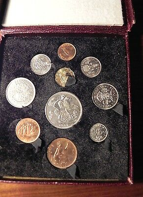 1951 United Kingdom 10 Coin Proof Set in Red Box
