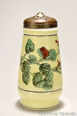 c. 4Q 1800s Floral Decorated Challinor, Taylor OPAQUE Sugar Shaker / Muffineer