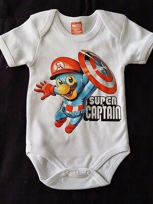 BODY BEBE BLANC 6/12 Mois - SUPER CAPTAIN - MARIO - AMERICA