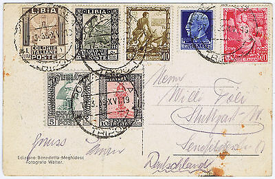 ITALY & LIBYA (LIBIA) MIX STAMPED CARD TRIPOLI PANORAMA di LEVANTE PRE WWII USED