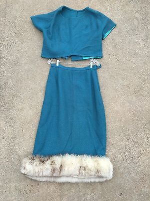 Vintage 3 pc Outfit 50s 60s Blue Nubby Crop Top Fur hem Skirt Jacket Rockabily M