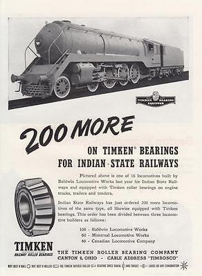 1948 Timken Roller Bearing Co Canton OH Ad: Indian State Railways Locomotive