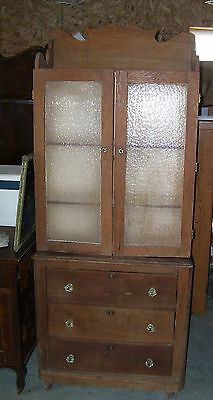 vintage kitchen wood cabinet with drawers and glass doors primitive furniture
