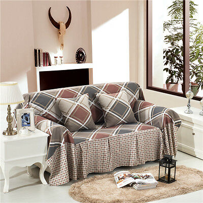 Nice Checked Linen Blend Slipcover Sofa Cover LUKB Protector for 1 2 3 4 seater