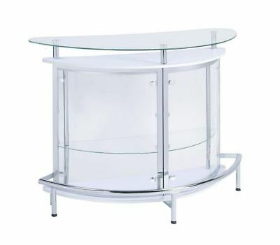Contemporary White Bar Unit with Smoked Acrylic Front by Coaster 101066 no