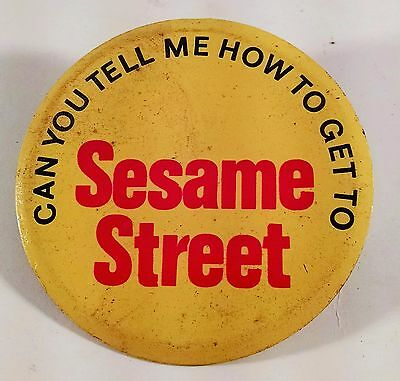 Can You Tell Me How To Get To Sesame Street Pin Pinback Vintage Retro Free Ship