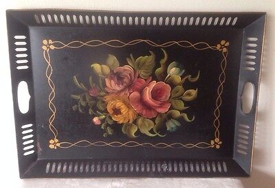 "Vintage Large Tole Tray Hand Painted Roses Floral Black 15""x21"""