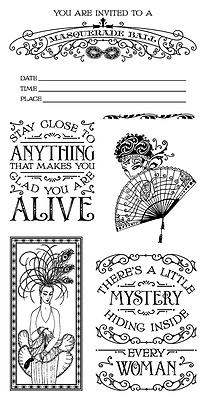 Graphic45 MIDNIGHT MASQUERADE #2 Cling Stamps Set of (7) scrapbooking