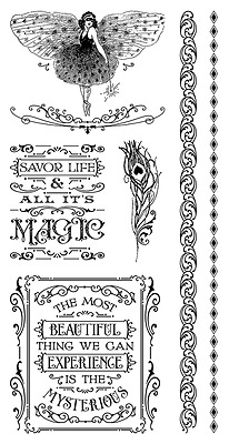 Graphic45 MIDNIGHT MASQUERADE #3 Cling Stamps Set of (6) scrapbooking