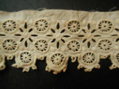"antique  COTTON EMBROIDERED TRIM 2 pieces 2"" x 22"""
