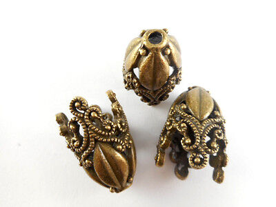 4 Antique Brass Plated Large Decorative Beadcaps Findings 65970